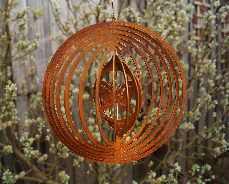 Edelrost Windspiel Schmetterling Terrasse Garten Fenster Metall Kreis Spiralen
