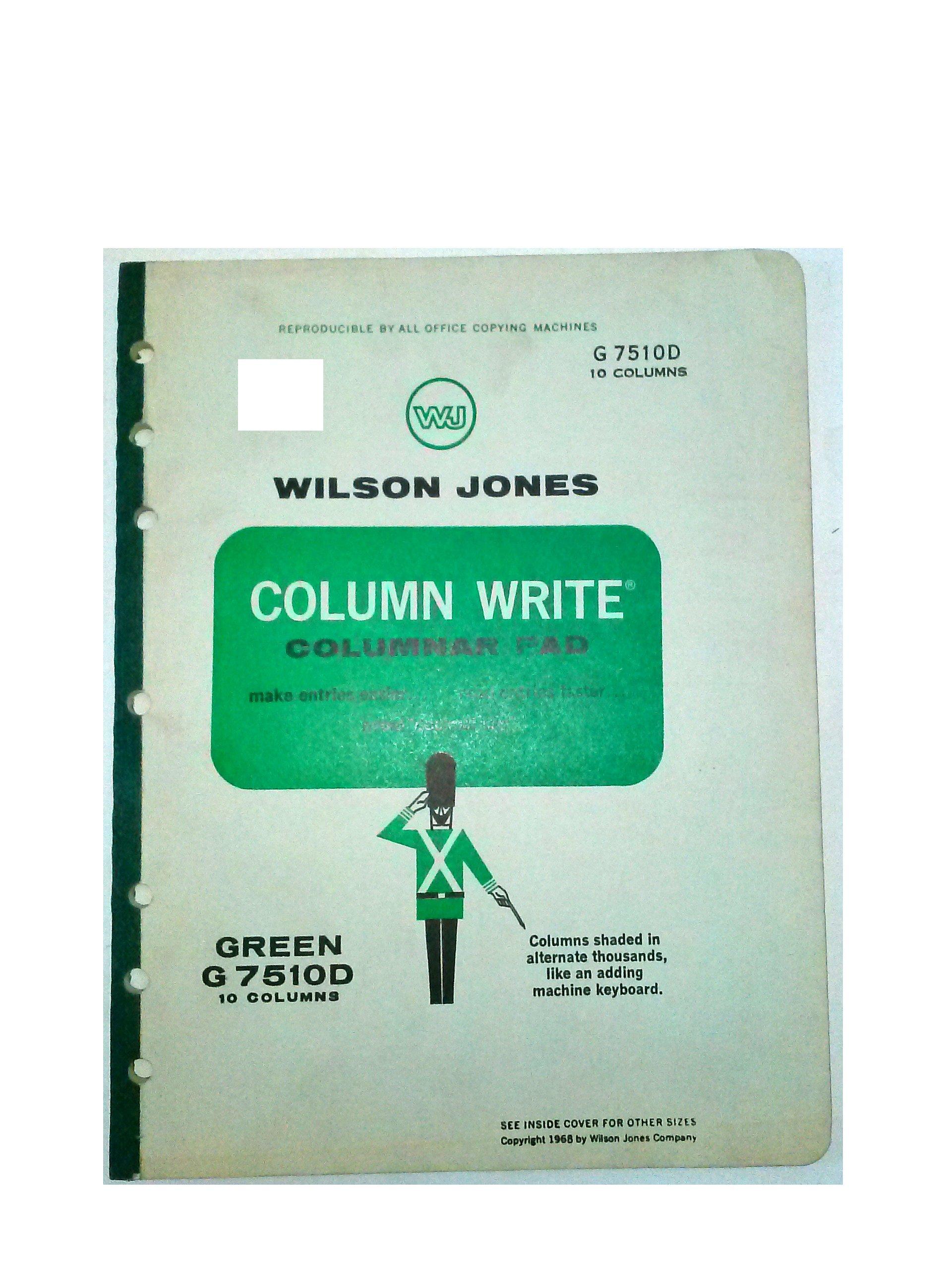 Wilson Jones, Columnar Pad, Green, G7510D, 10 Columns