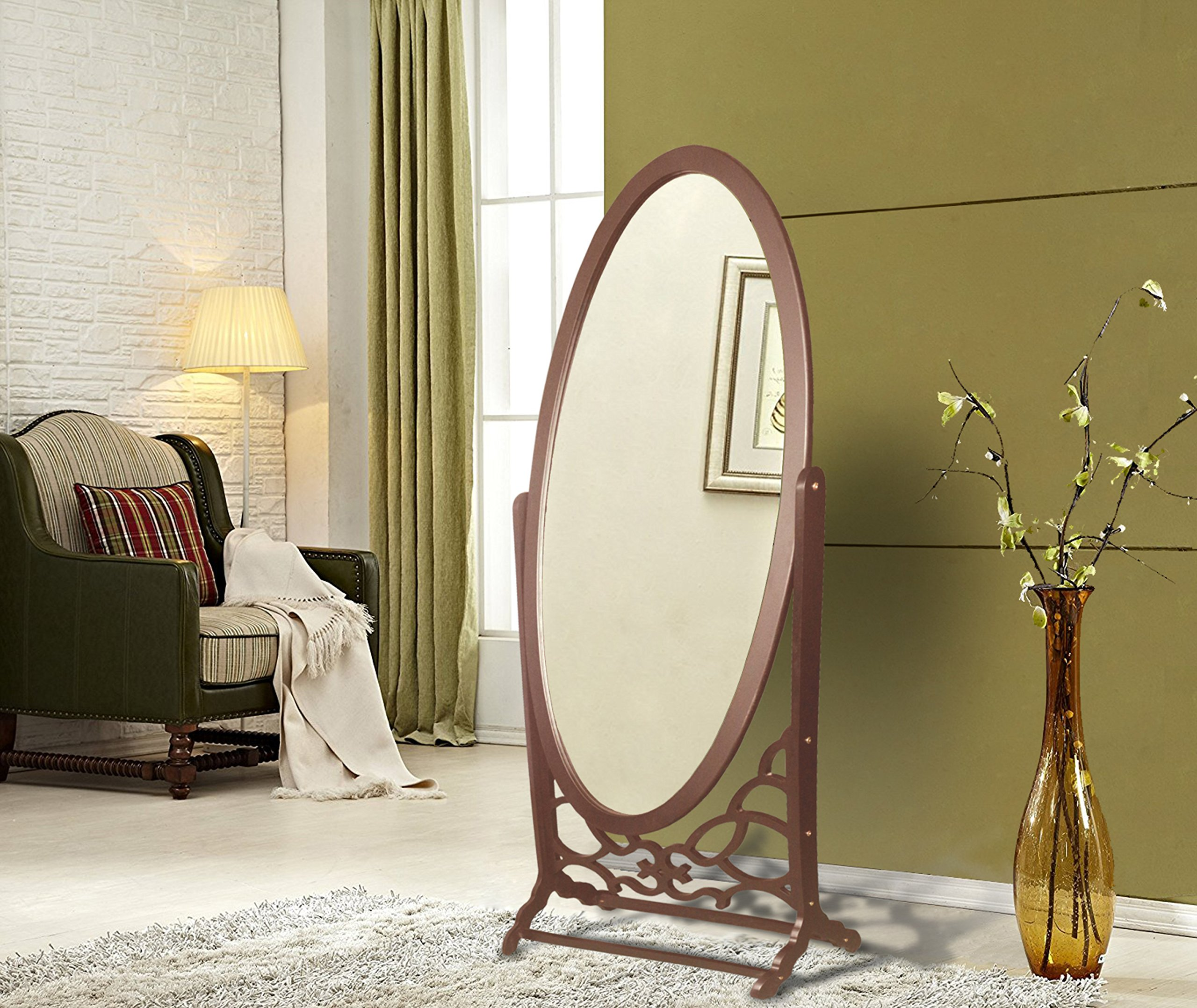 Iconic Home Bowery Mirror Modern Free standing Spindle accent legs  Floor Mirror, Espresso