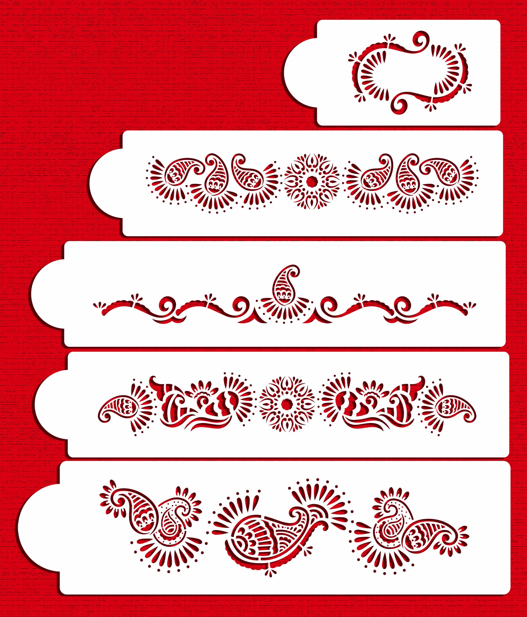 Designer Stencils C388 Mehndi Cake 5 Tier Set Cake Stencils, Beige/semi-transparent by Designer Stencils (Image #1)