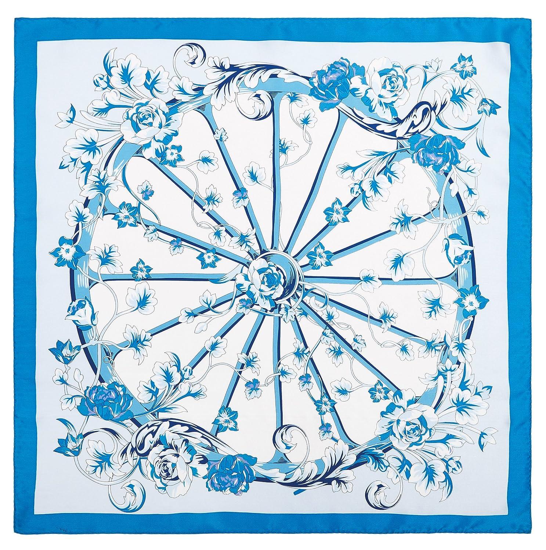 JollyChic Women's Blue and White Flower Wheel Print Natural Silk Scarf