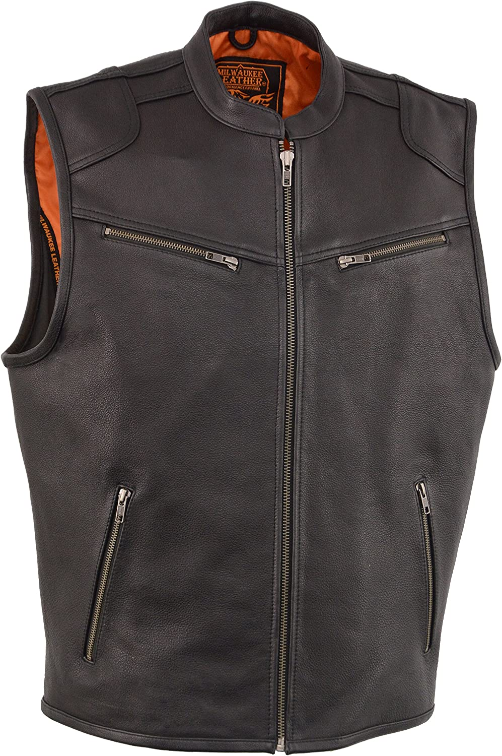 Large Stay 25/° Cooler than Standard Vests Men/'s Leather Zipper Front Vest w// Cool Tec Technology