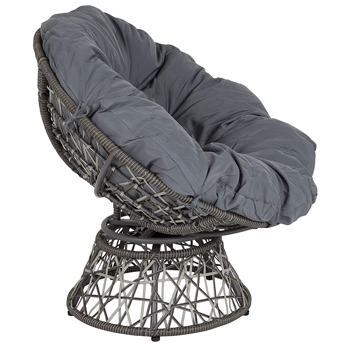 Flash Furniture Bowie Comfort Series Swivel Patio Chair with Dark Gray Cushion