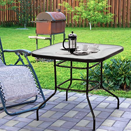Yardwind Patio Bistro Table 32 x 32 Tempered Glass Top Metal Frame Outdoor Square Table Patio Bistro Dining Table with Umbrella Hole Patio, Garden, Poolside, Balcony, Backyard Dark Chocolate