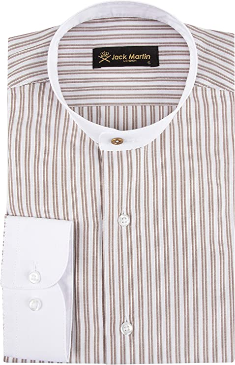 Mens Vintage Shirts – Casual, Dress, T-shirts, Polos Jack Martin London Peaky Blinders - Collarless/Grandad Collar - Tan Brown Two Tone Stripe Slim Fit Shirt $39.00 AT vintagedancer.com