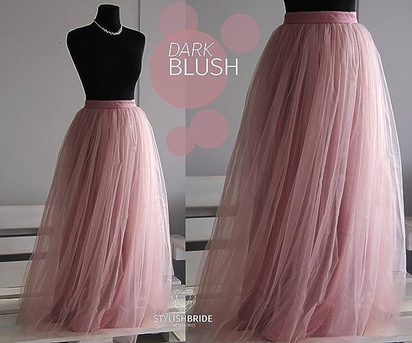 d41c7108 Amazon.com: Dark Blush Long Tulle Skirt Casual Floor length Women's ...