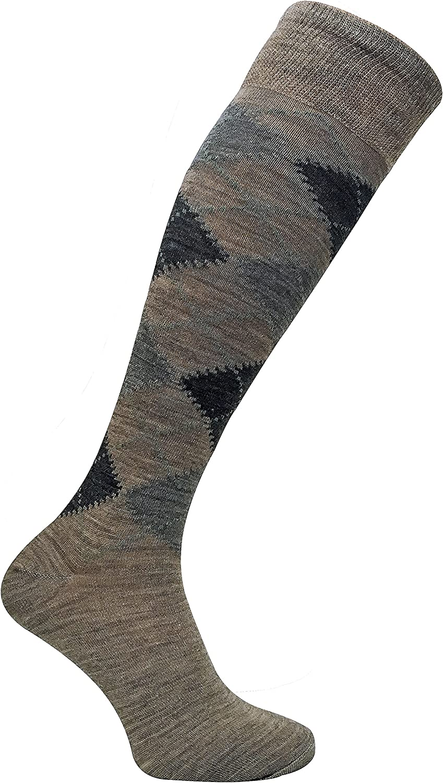 3 Pairs Mens Extra Long Knee High Argyle Lambs Wool Dress Socks in Brown or Grey Sock Snob