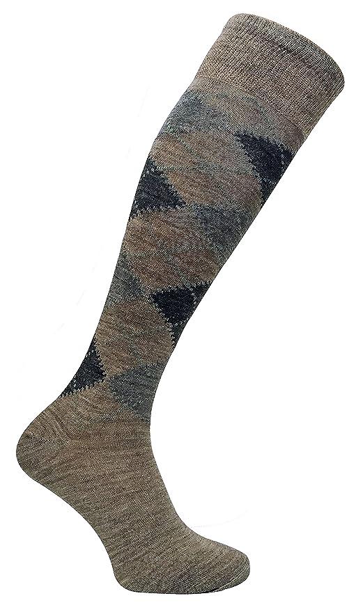 Sock Snob 3 pares hombre altos/largos termicos invierno finos calcetines lana con rombos (39-45 eur, ELLW Brown): Amazon.es: Ropa y accesorios