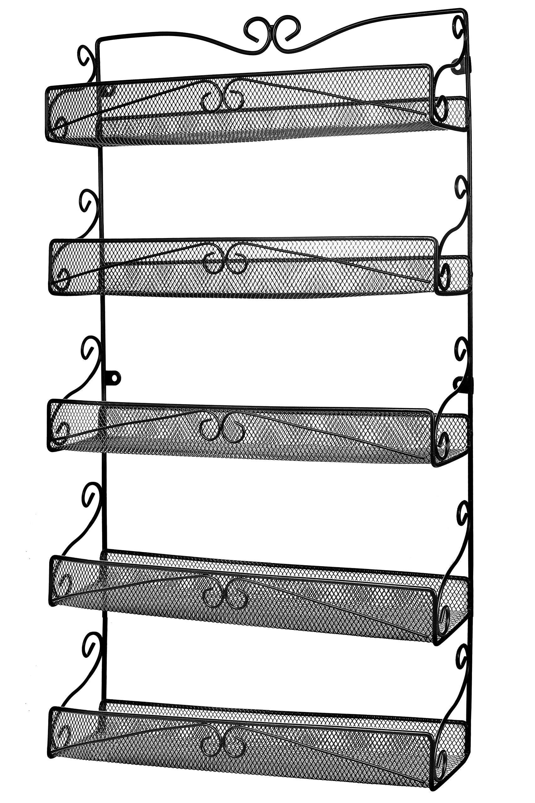 Wall Mounted Spice Rack Organizer for Cabinet Pantry Door Kitchen Large Hanging Spice Shelf,5 Tier Black by URFORESTIC