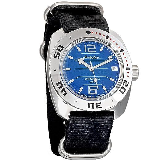 Vostok Amphibia NATO NEGRO Ruso Genuino Militar Diver 200 WR Mecanico Reloj de cuerda automatico 710696: Amazon.es: Relojes