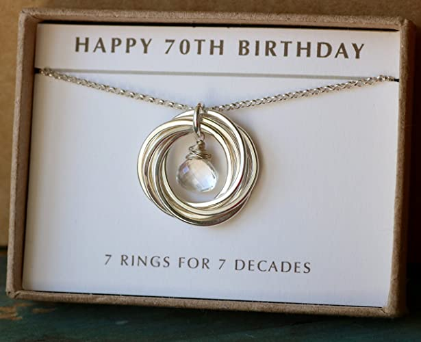 70th Birthday Gift Idea April For Mum Birthstone Necklace Rock Crystal