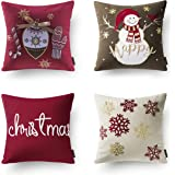 """Phantoscope New Merry Christmas Embroidery Snowman Letter Snow Flakes Throw Pillow Case Cushion Cover 18"""" x 18"""" 45cm x 45cm Set of 4"""