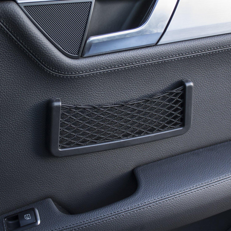 Car Storage Net Pocket - Smartphone Holder & Organiser - In Car Universal Mesh Design - Cargo Net - 3M Adhesive - Black MFX