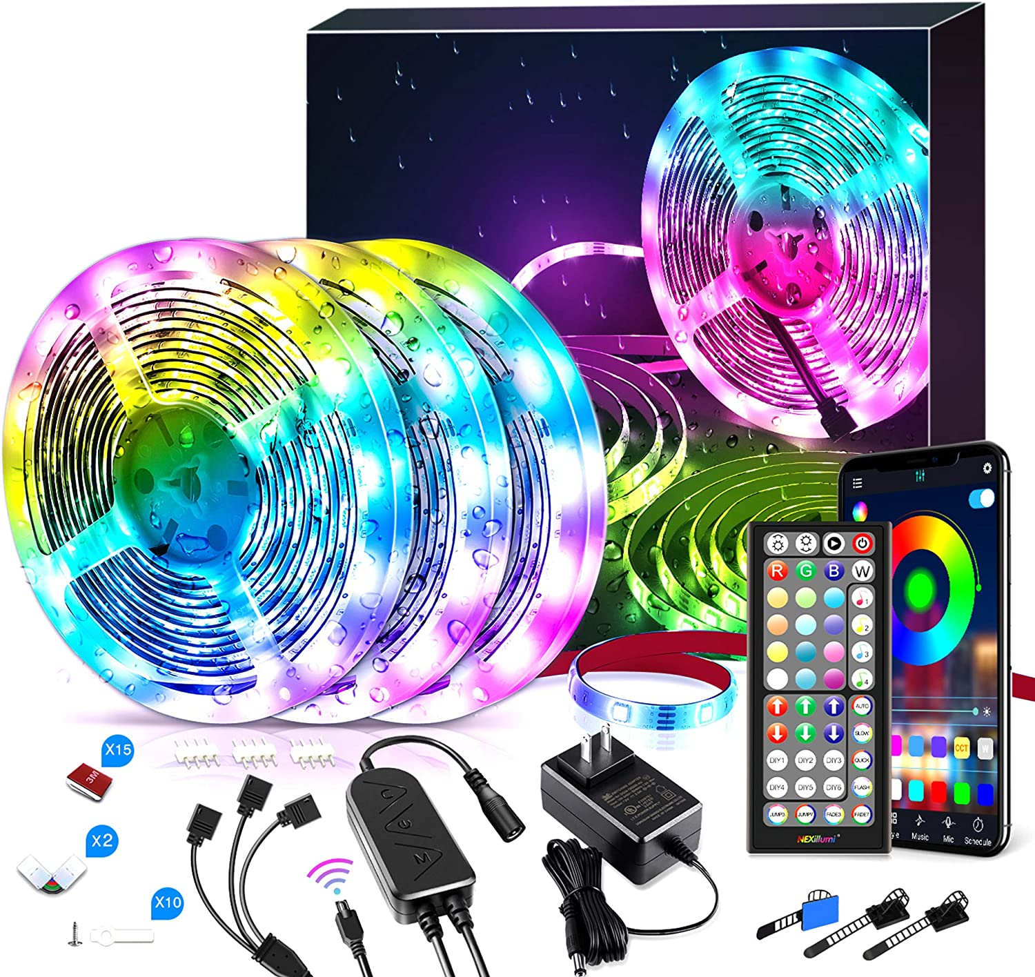 Waterproof 50 ft LED Lights, Color Changing RGB LED Strip Lights with Remote App Controlled LED Lights for Bedroom Decor, LED Light Strips for Rooms (50Ft APP+ Remote+ Mic Control+ 3-Button Switch)