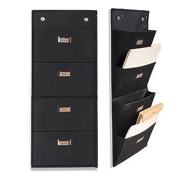 Wallniture Archivo Hanging File Folder Holder - Document Organizer with Label Tabs 4-Sectional Canvas Black (2): Amazon.es: Oficina y papelería