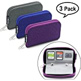 Memory Card Holder, HONSKY 3 Set 22 Slot Leopard Print SD CF SDHC SDXC MMC Micro SD SecureDigital Memory CompactFlash Card Carrying Cases Sleeves Media Storage Organization - Purple, Blue, Grey