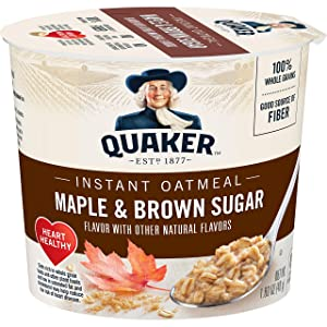 Quaker Instant Oatmeal Express Cups, Maple Brown Sugar, Breakfast Cereal, 1.69 oz Cup, 12 Pack
