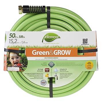 Element Greenu0026GROW Lead Free Garden Hose, 50 Ft With 5/8u0026quot; Diameter