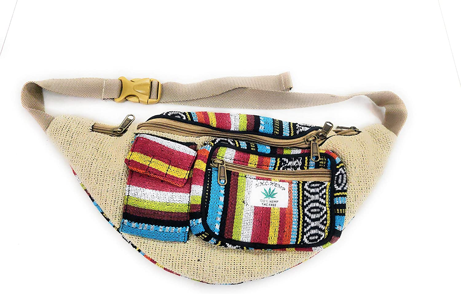 suvasana Handmade Hemp Fanny Pack Waist Hip Bag Handmade from Pure Hemp Boho Bag Hippie Bag Vintage /… beige5