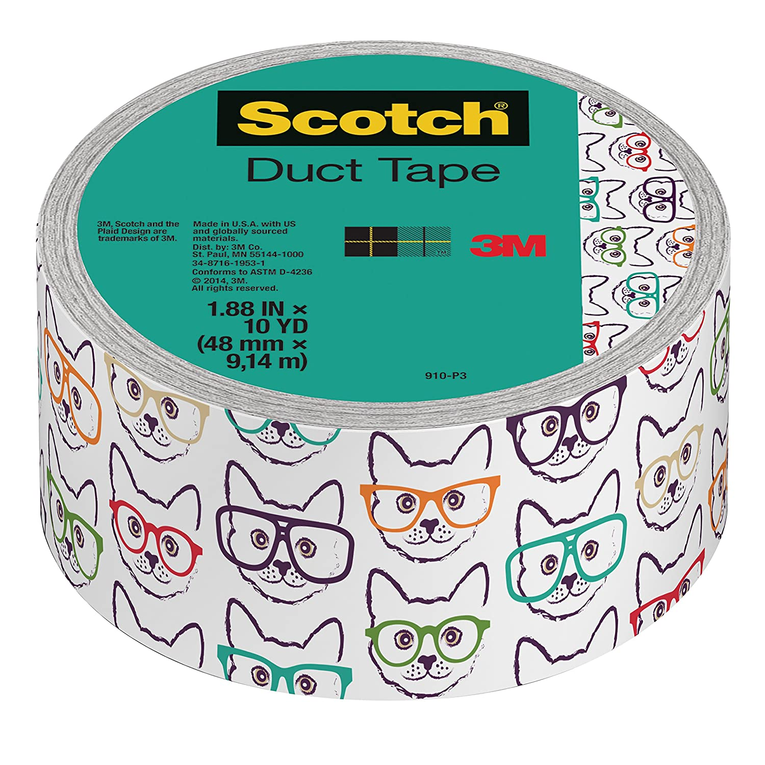 Scotch Duct Tape, 1.88 x 10 yd, Cat with Glasses (910-P3) 1.88 x 10 yd 3M Office Products
