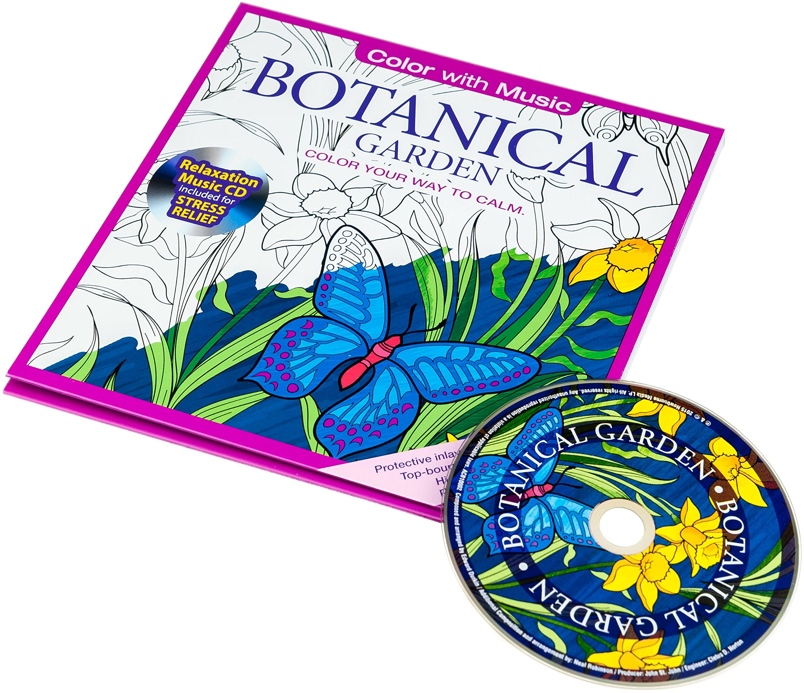 Botanical art coloring book - Amazon Com Botanical Garden Adult Coloring Book With Bonus Relaxation Music Cd Included Color With Music 9781988137018 Newbourne Media Books