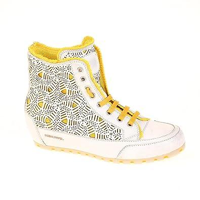 Candice Cooper Damen Sneaker High Leder Weiß Gelb