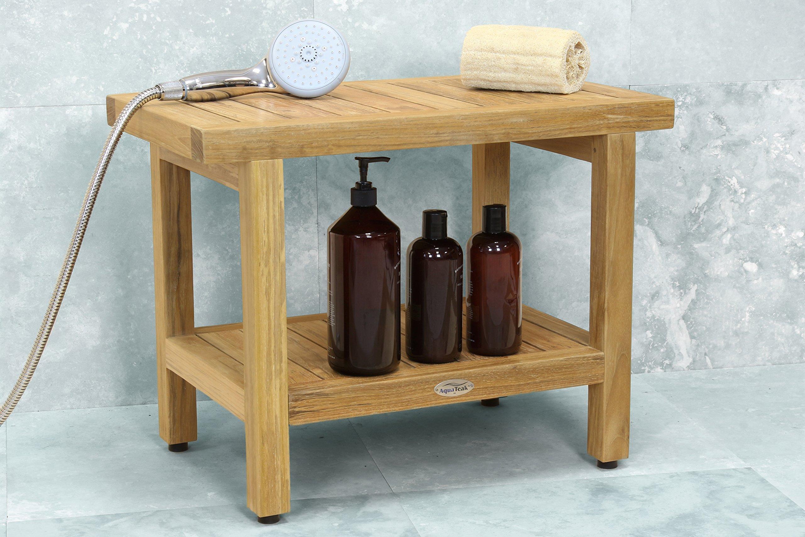 24'' Spa Natural Teak Shower Bench with Shelf by AquaTeak (Image #8)