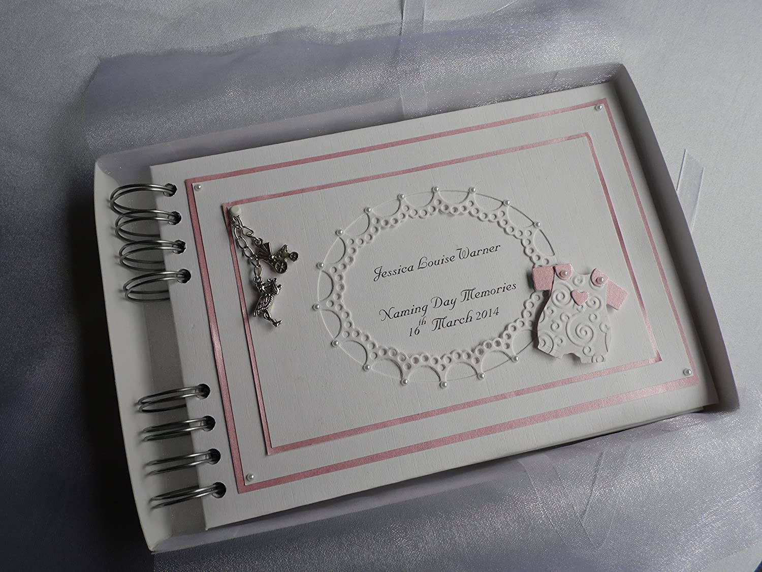 Personalised Baby Girl Photo Album With Interleaving A5 Pink And White Baby Suit,Boxed