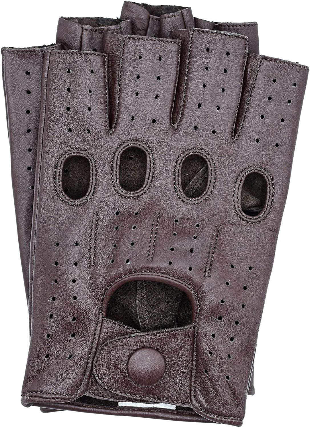 Riparo Womens Fingerless Half Finger Driving Motorcycle Unlined Leather Gloves