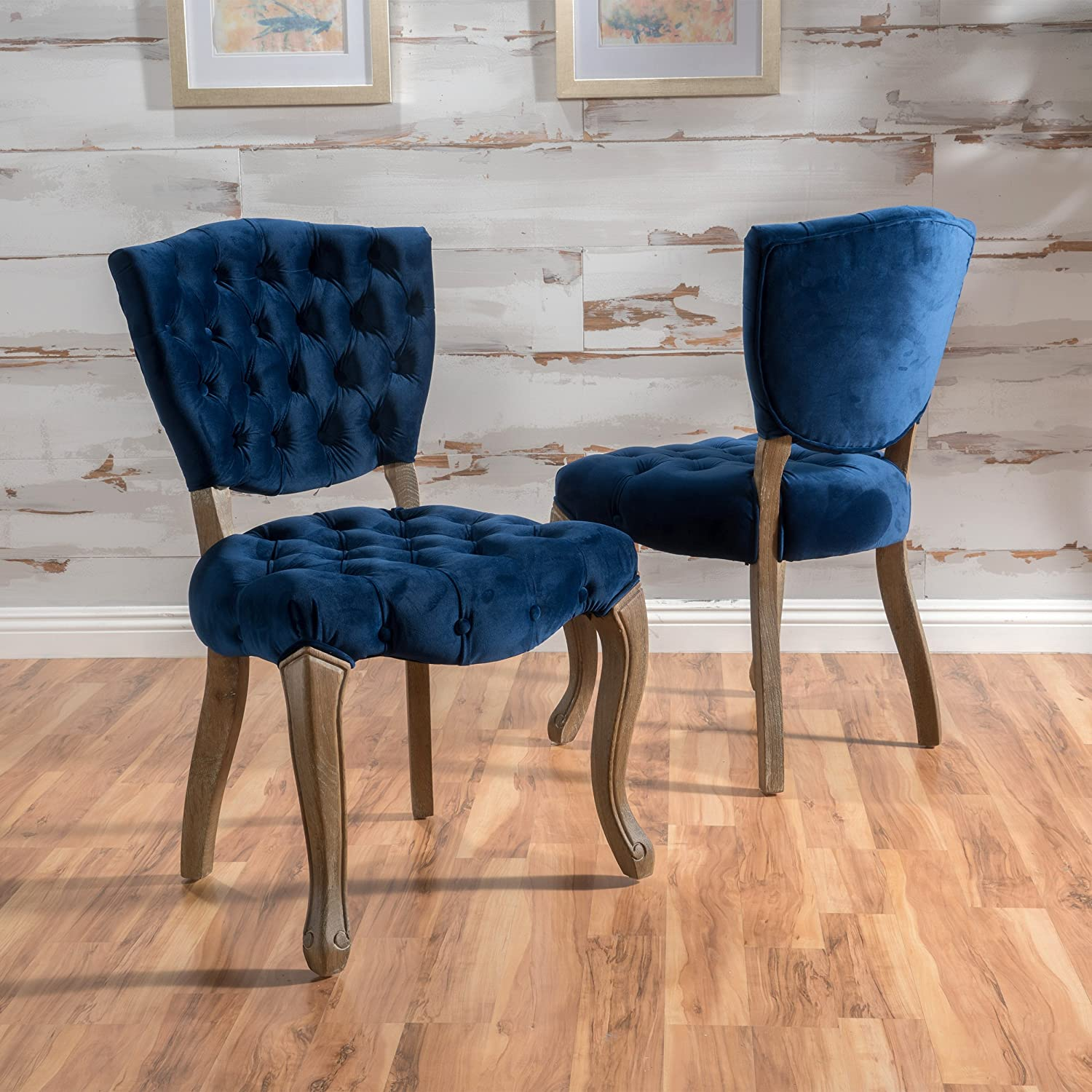 Amazon com great deal furniture duke tufted navy blue velvet dining chairs set of 2 chairs