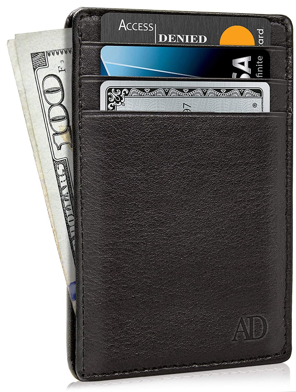 8d0e5975739cd Slim Minimalist Wallets For Men   Women - Leather Front Pocket Thin Mens  Wallet RFID Credit Card Holder Gifts For Men - Black Wallet at Amazon Men s  ...