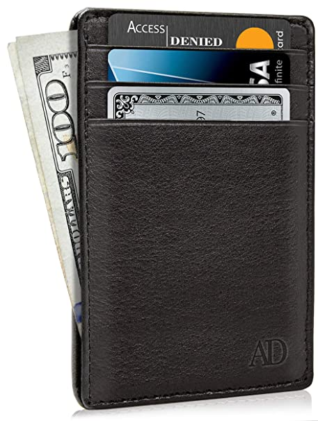 2ecace2e207f4 Slim Minimalist Wallets For Men   Women - Leather Front Pocket Thin Mens  Wallet RFID Credit