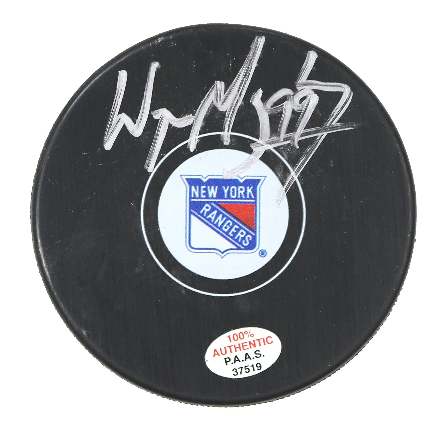 ede01564c87 Wayne Gretzky New York Rangers Signed Autographed Rangers Logo NHL Hockey  Puck PAAS COA at Amazon s Sports Collectibles Store