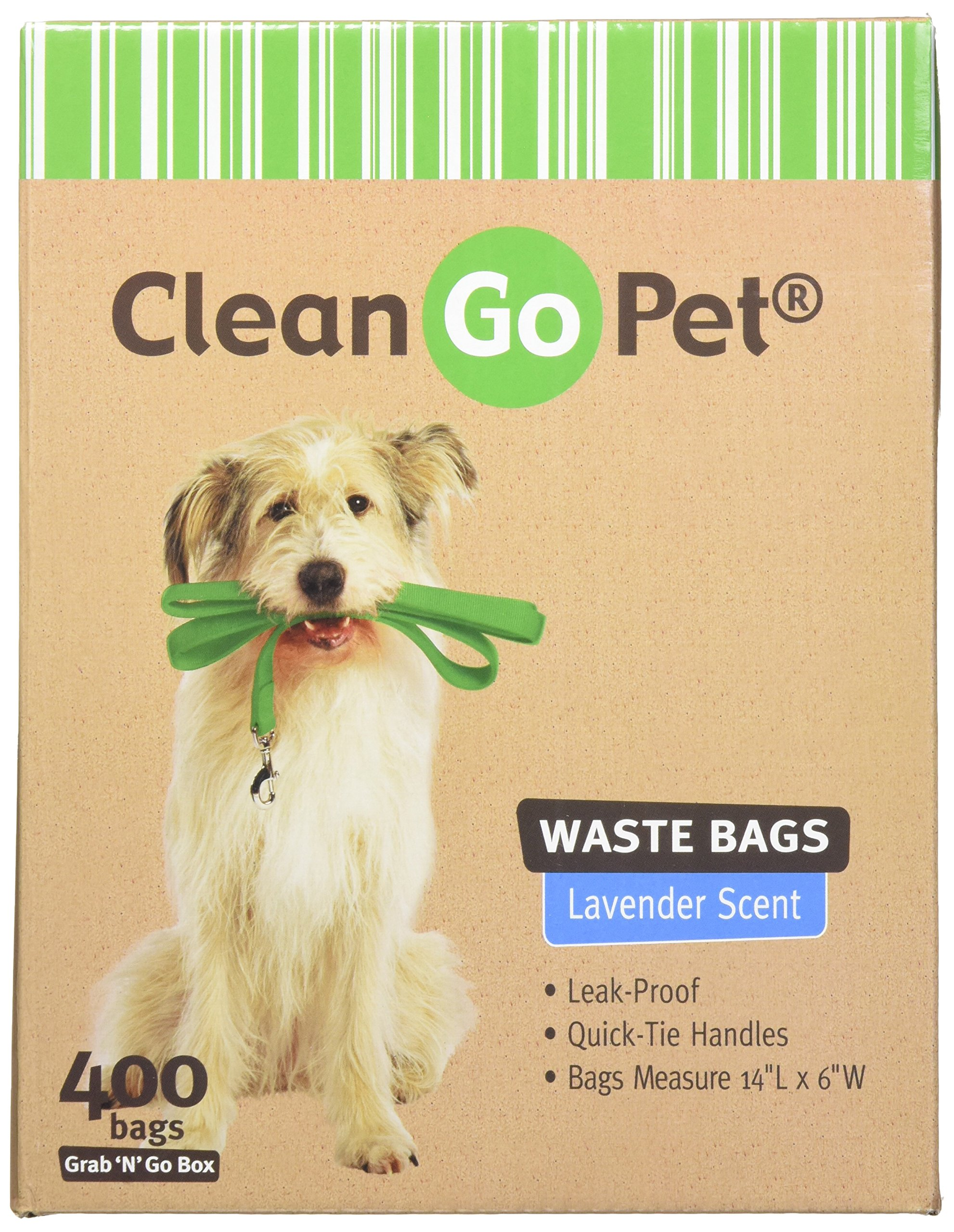 Clean Go Pet Lavender Scent Doggy Waste Bags, 400-Count, Quick-Tie Handles Poop Bags by Clean Go