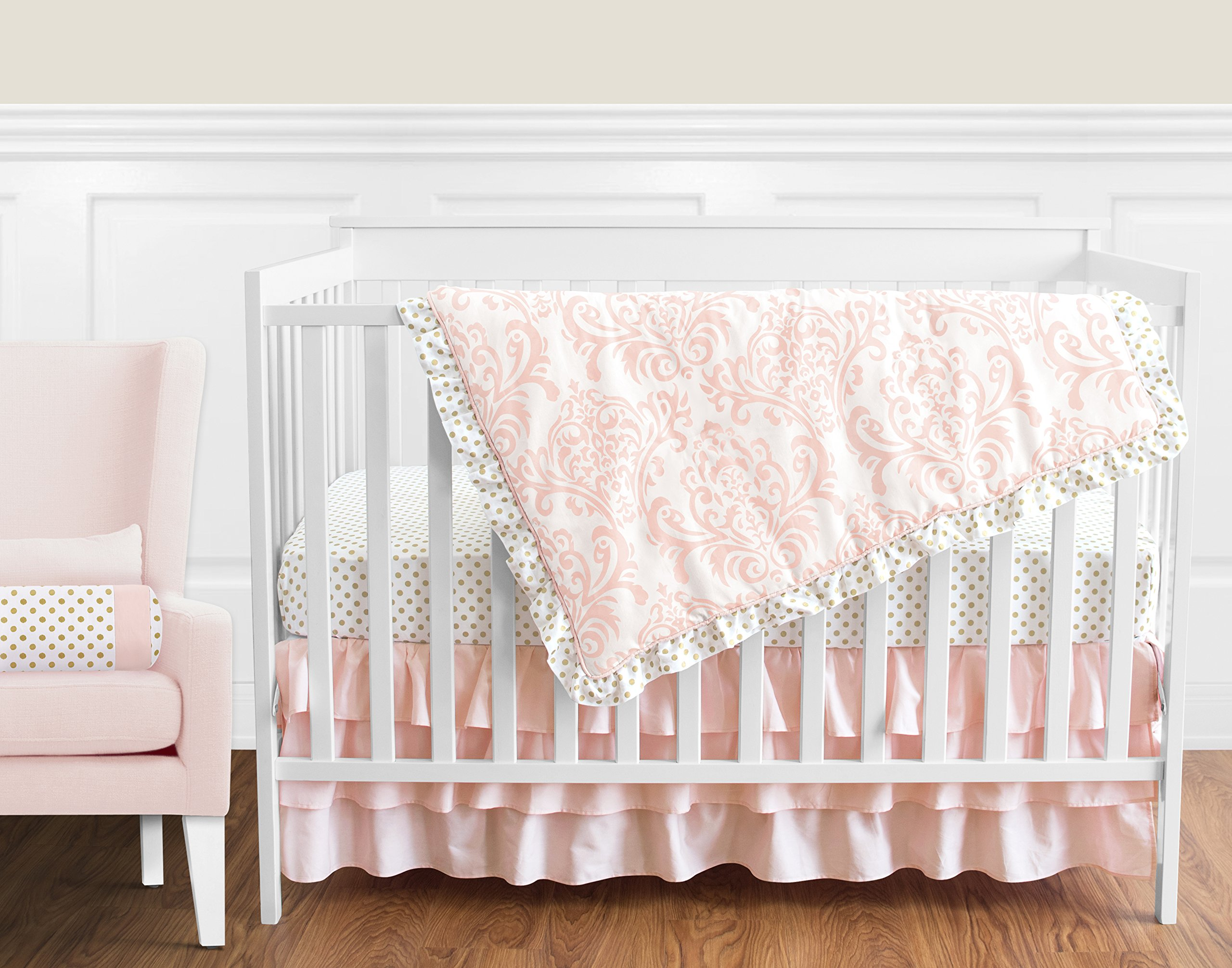 Blush Pink White Damask and Gold Polka Dot Amelia Girl Baby Bedding 4 Piece Crib Set Without Bumper by Sweet Jojo Designs