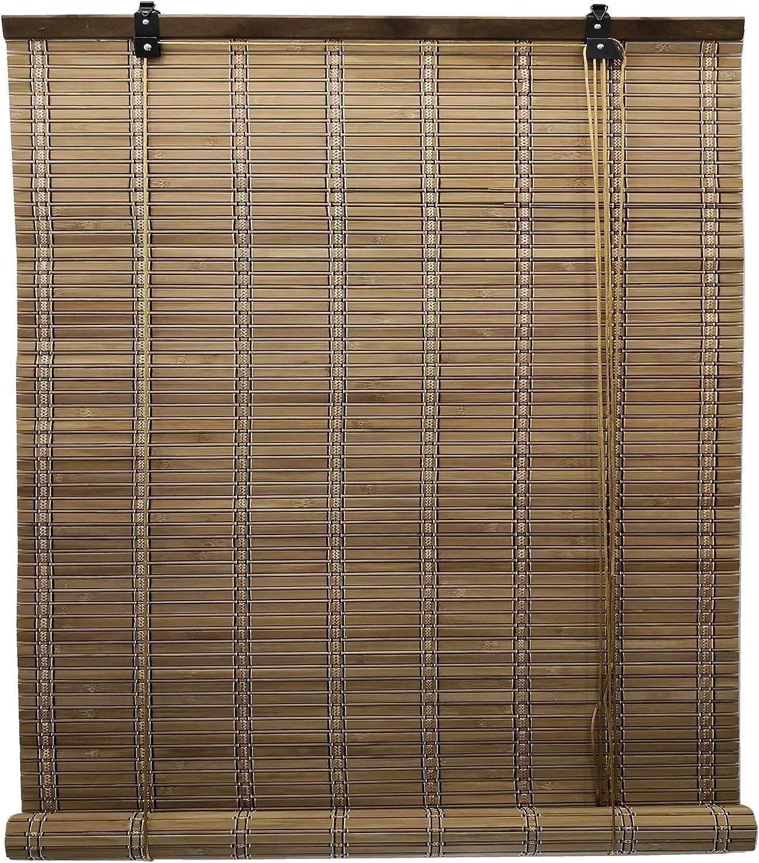 Solagua 6 Modelos 14 Medidas de estores de bambú Cortina de Madera persiana Enrollable (110 x 225 cm, Marrón)