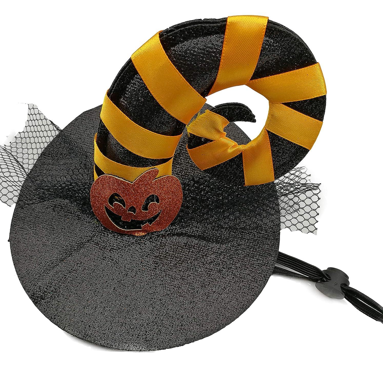 Iris Sprite Costumi di Halloween Pet Ali di Pipistrello per Animali Cani Gatti Decorazioni di Halloween Cappello di Zucca Cappello di Ragno Cappello di Corno (Zucca Rossa) IS-Puppy1