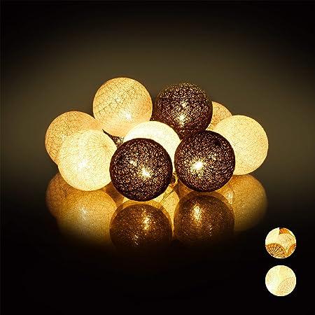 Relaxdays Guirnalda Luces con 10 Bolas LED a Pilas, Algodón-Poliestireno, Blanco-Gris-Negro, 6 cm de diámetro: Amazon.es: Hogar