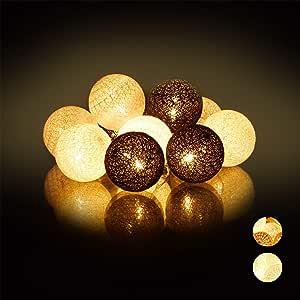 Relaxdays Guirnalda Luces con 10 Bolas LED a Pilas, Algodón ...