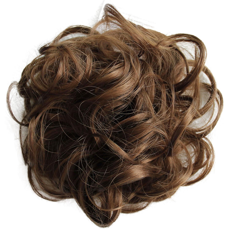PRETTYSHOP Hairpiece Hair Rubber Scrunchie Scrunchy Updos VOLUMINOUS Curly Messy Bun Light brown G6E_12A