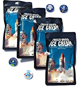 LuvyDuvy Freeze Dried Ice Cream Neapolitan Sandwich (Vanilla-Strawberry-Chocolate) and Space Sticker Party Bundle