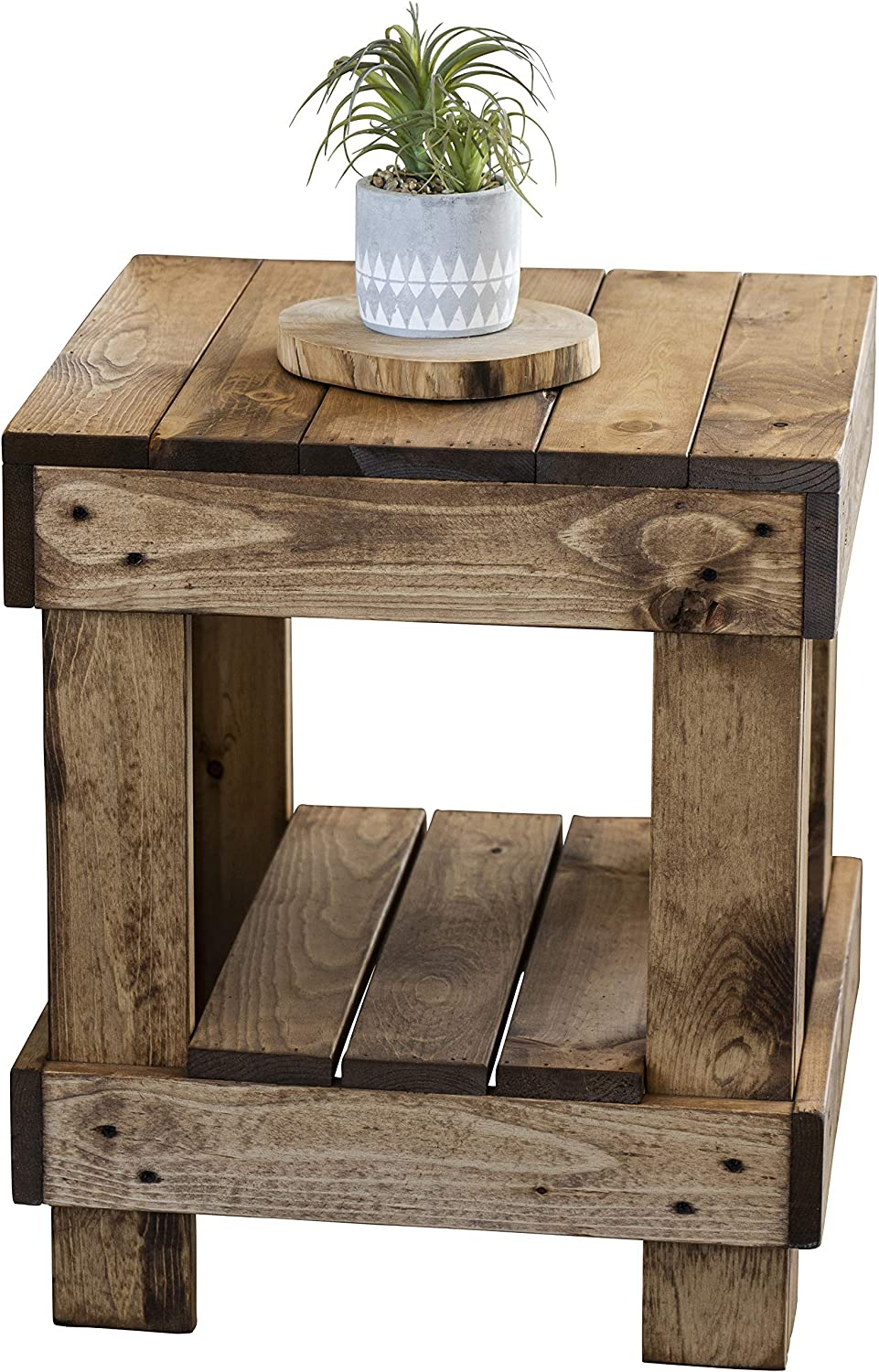 Landmark Pine Natural Solid Wood Farmhouse Living Room Coffee or End Table (End Table, Walnut)
