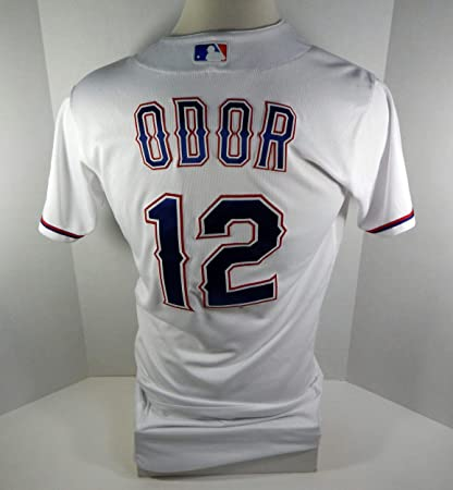 7ec84d172 2018 Texas Rangers Rougned Odor  12 Game Issued White Jersey ...
