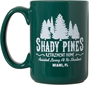 Shady Pines Retirement Home Mug - 15oz Deluxe Double-Sided Coffee Tea Mug (Green)