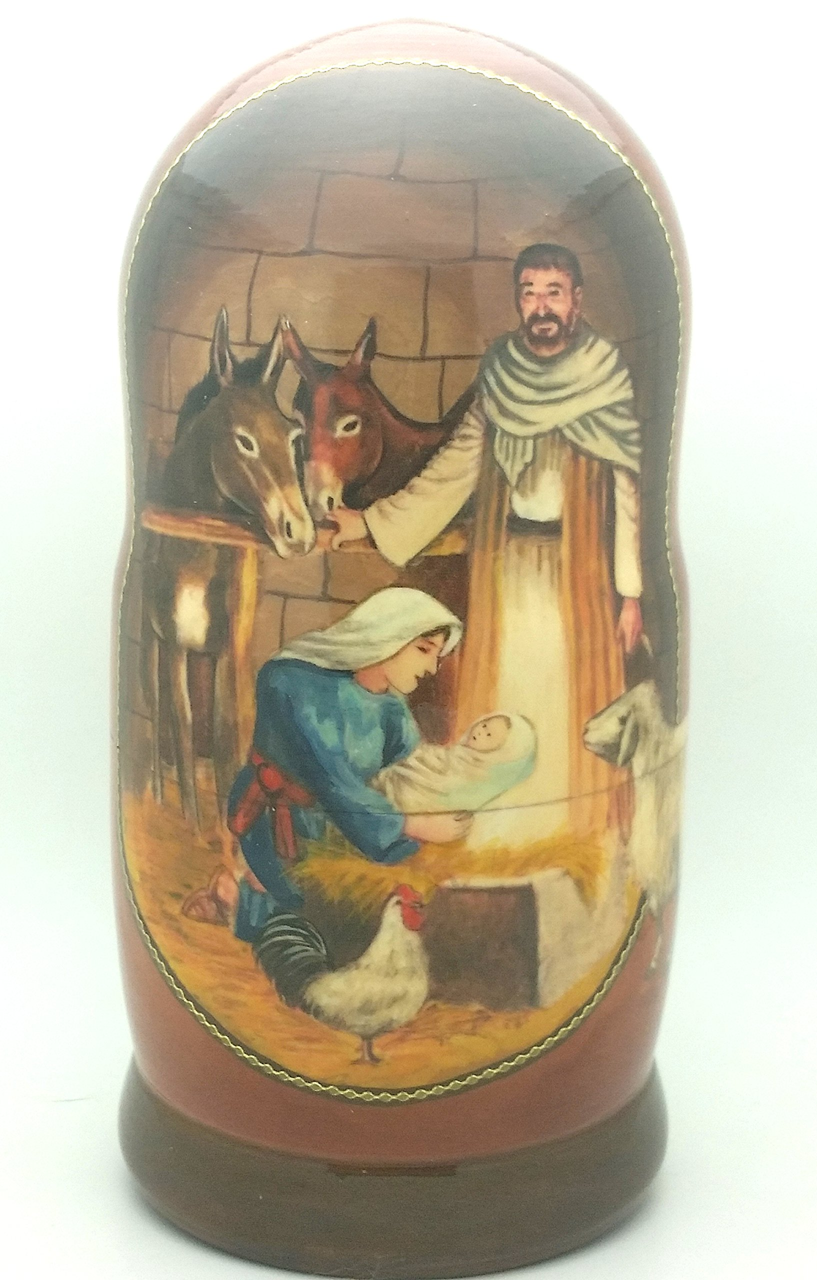 Nativity Jesus Life Nesting Doll Hand Made in Russia 5 Piece 7''H Christmas Set by BuyRussianGifts (Image #3)