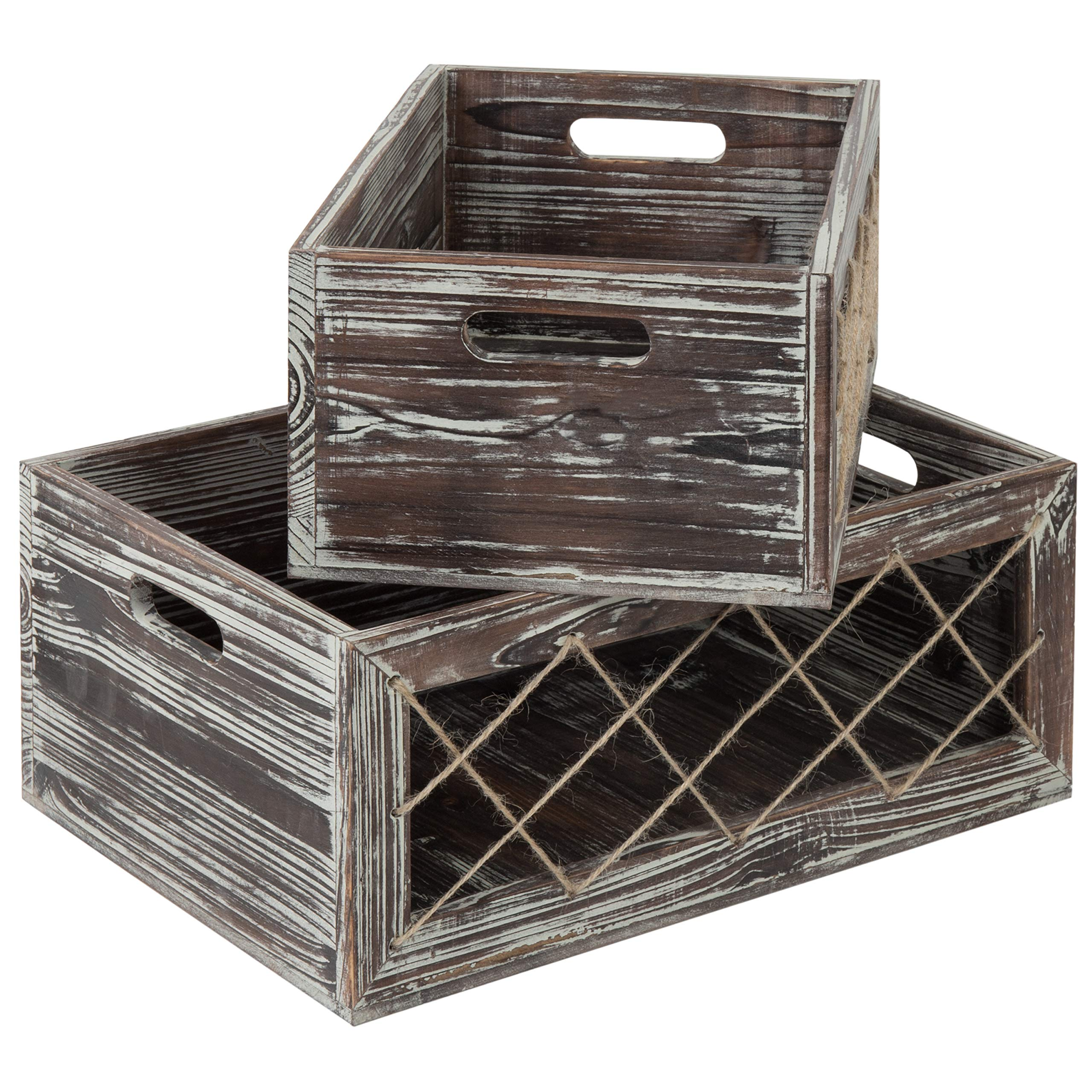 MyGift Rustic Torched Wood Nesting Storage Crates with Rope, Set of 2 by MyGift