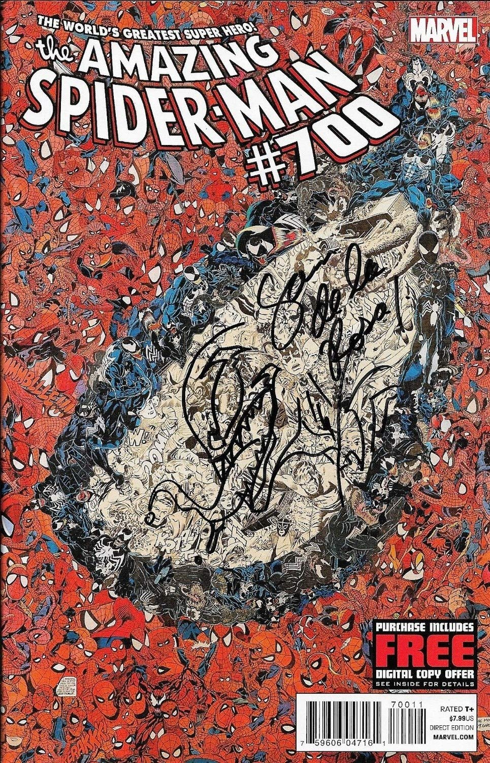 Sam De La Rosa Autographed Signed The Amazing Spider Man Autographed Signed #700 Marvel Comic Book W Sketch 1 Certified Authentic