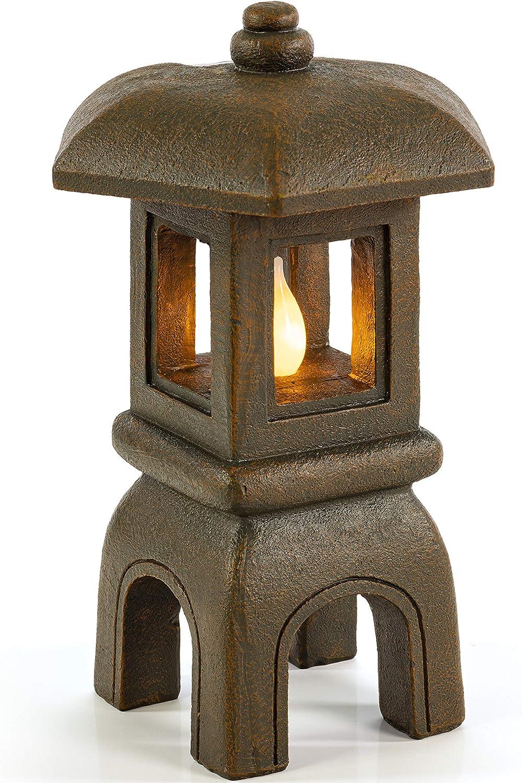 VP Home Serenity Zen Pagoda Solar Powered Flickering LED Outdoor Decor Garden Light