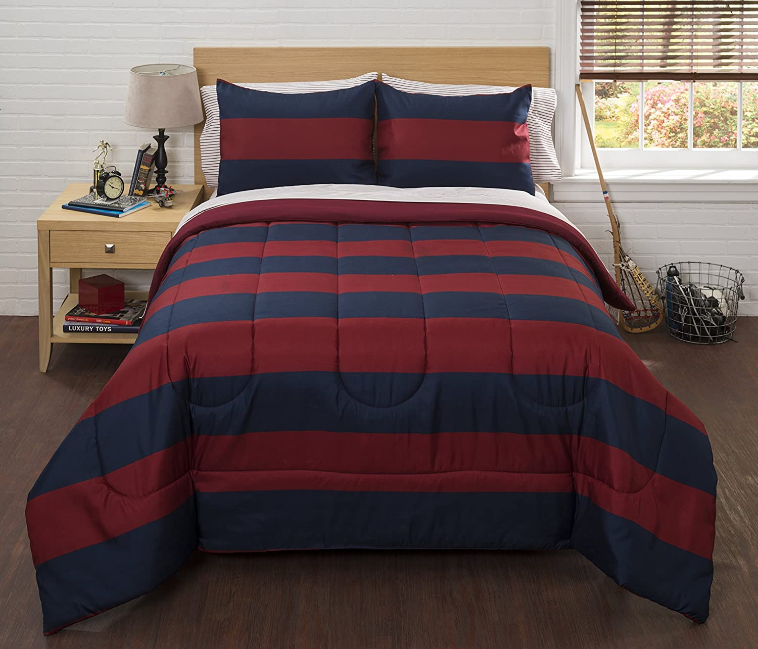 Home Classic 7 Pcs Bed Comforter Set Multi Color Rugby Stripe New