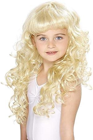 Smiffys Peluca de princesa para niñas, rubia, rizada